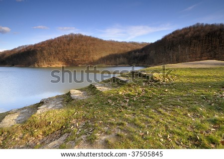 Stairs to the dam - stock photo