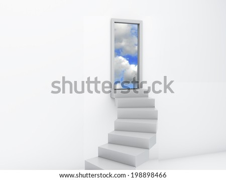 Stairs to the doors of heaven. free concept - stock photo