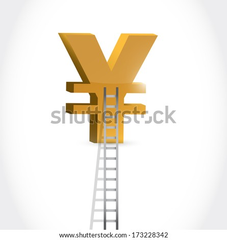 stairs to yen currency symbol illustration design over white - stock photo