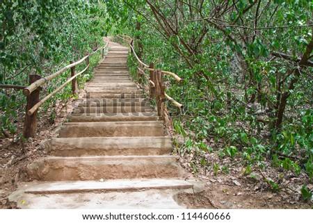 Stairs up the hill, to the Erawan Water fall,Kanchanaburi, Thailand. - stock photo