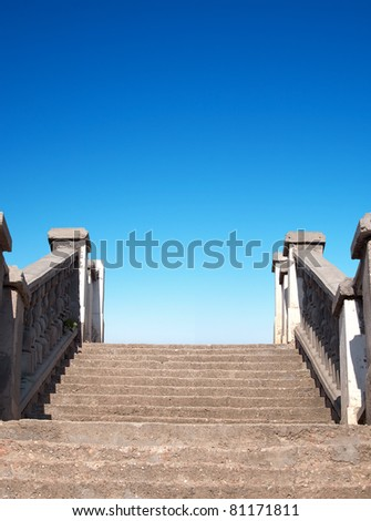 Stairway and bright sky. Abstract composition - stock photo