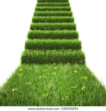 stairway covered with green grass. isolated on white background. - stock photo
