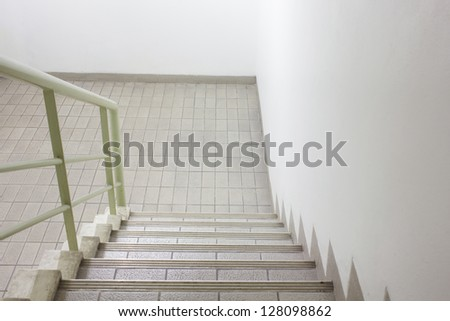 stairway for exit, safety concept - stock photo