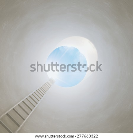 Stairway from tunnel to the light. Conceptual picture of success, achievements and progress. - stock photo