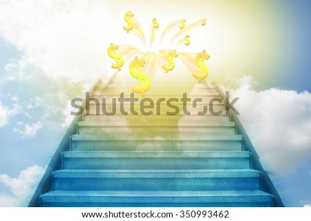 stairway going up to the money sky background - stock photo