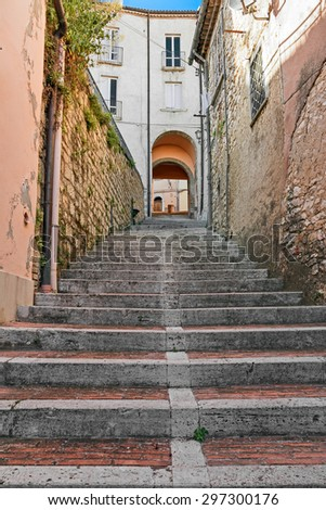 stairway in alley - stock photo