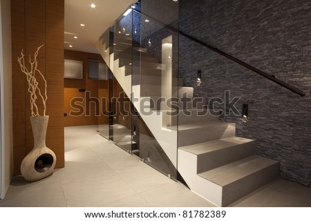 Stairway in modern apartment - stock photo
