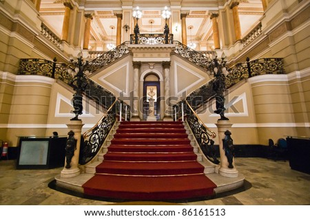 Stairway inside classical building - stock photo