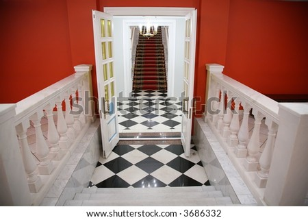 stairway inside the building - stock photo