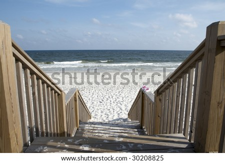 Stairway leading to the beach on the Alabama gulf coast. - stock photo