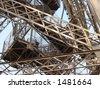 Stairway of Eiffel Tower Paris - stock photo
