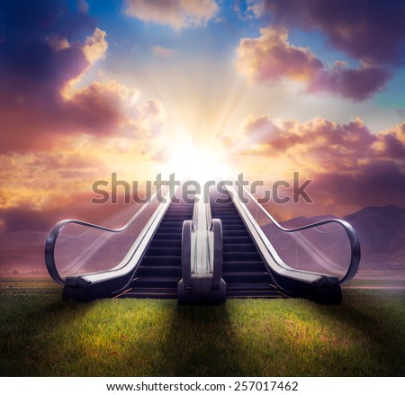 Stairway to heaven / Photo composite with high contrast - stock photo