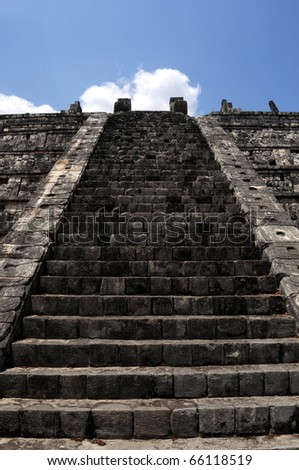 Stairway to heaven - stairway to the top of the Kukulkan pyramid (Castillo) in Chichen Itza, in Mexico