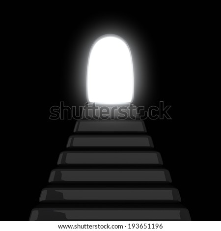 Stairway to the light  - exit from the dark, 3d - stock photo