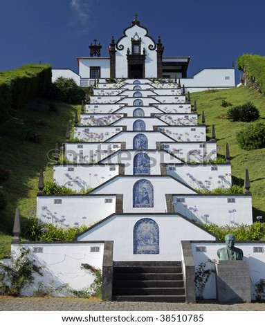 "Stairway to the small chapel ""Ermida da Nossa Senhora da Paz"" at Sao Miguel (Azores) - stock photo"