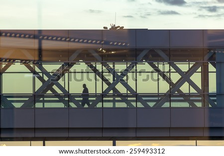 Stairways at an international airport - stock photo