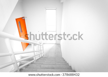 stairwell fire escape in building. - stock photo