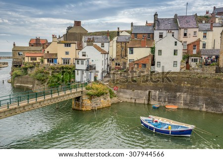 Staithes harbour in north Yorkshire - stock photo