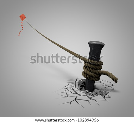 stake holds the kite - stock photo