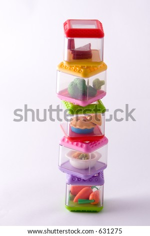 staked play food containers - stock photo