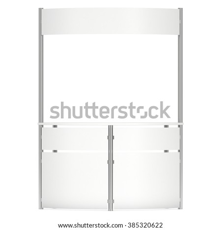 Stall or Kiosk Modern Reception Desk. Trade show booth white and blank. 3d render illustration isolated on white background. Template mockup for your expo design.