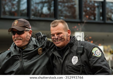 "Stamford, Connecticut - November 22, 2015: Police at the annual ""Thanksgiving Day Parade"" in Stamford, Connecticut on November 22, 2015."