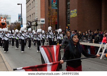 "Stamford, Connecticut - November 22, 2015: The annual ""Thanksgiving Day Parade"" in Stamford, Connecticut on November 22, 2015."
