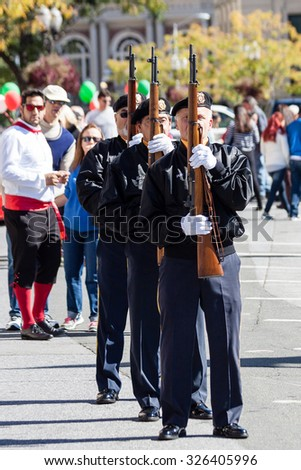 Stamford, CT, USA - October 11, 2015: Individuals participating in the annual Columbus Day Parade in Stamford, Connecticut on October 11, 2015.
