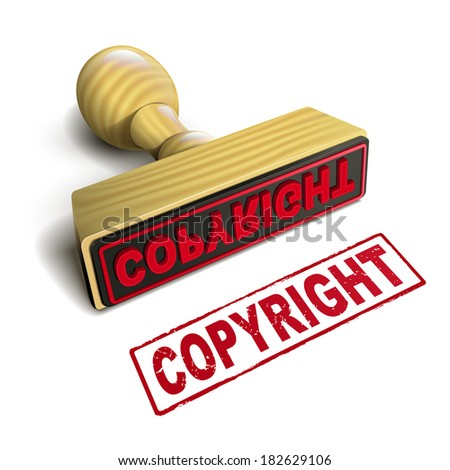 stamp copyright with red text over white background - stock photo