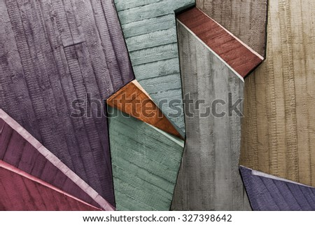 Stamp of  texture wood on a concrete wall - stock photo