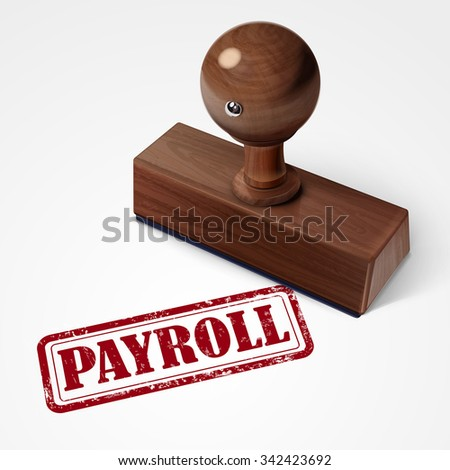 stamp payroll in red over white background - stock photo