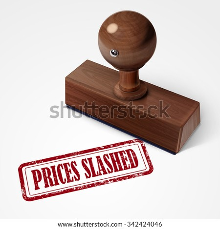 stamp prices slashed in red over white background - stock photo
