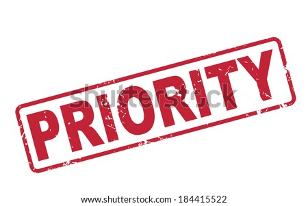 stamp priority with red text over white background - stock photo