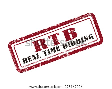 stamp real time bidding in red over white background - stock photo