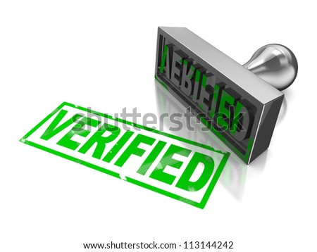 Stamp verifie with green text isolated on a white background - stock photo
