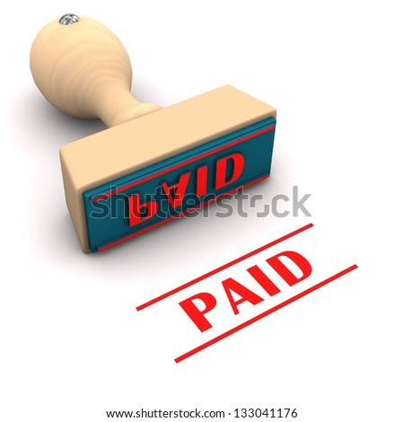 Stamp with text paid on the white background. - stock photo