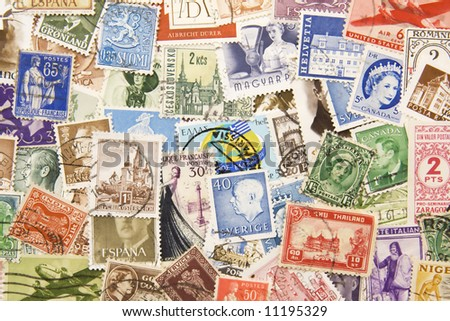 Stamps of the world background / texture - stock photo