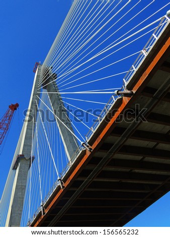 stan musial veterans' memorial bridge as seen from the mississippi river in    st louis, missouri         - stock photo