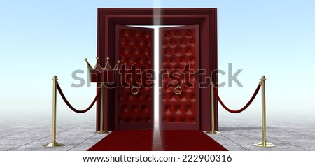 Stanchion in front of a door entrance - stock photo