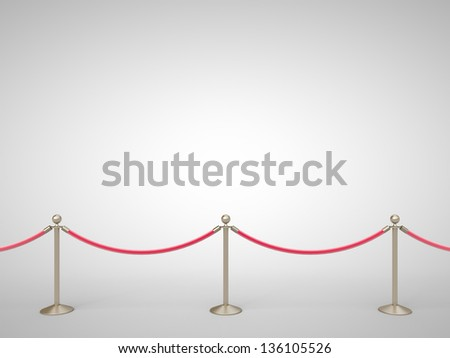 stanchions barrier gray on white - stock photo