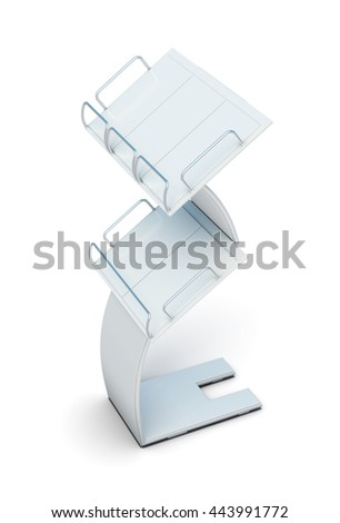 Stand for newspapers or magazines isolated on white background. Promotional products. For booklets and postcards. 3d rendering