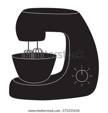 Stand Mixer. Black kitchenware icon. Raster version. Illustration isolated on white background.