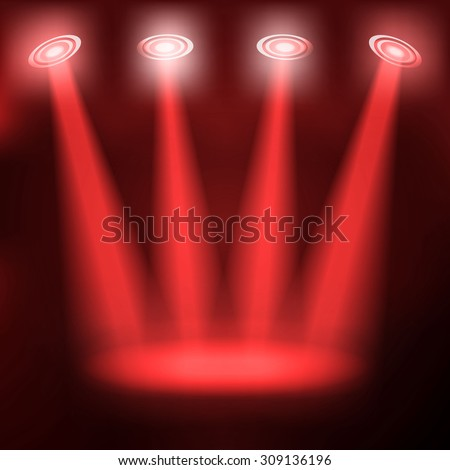 Stand on red stage. vector blue spotlights. Raster version - stock photo