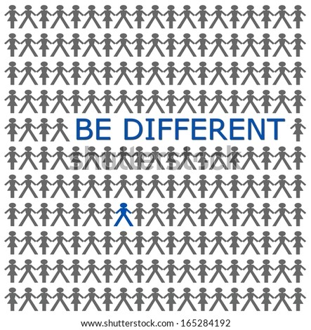 Stand out from the crowd, be different  - stock photo