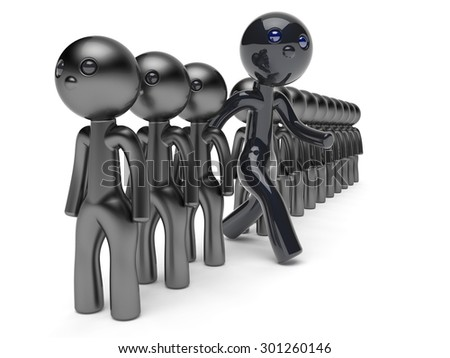 Stand out from the crowd character different people man black think differ unique person otherwise run to new opportunities concept individuality referendum vote icon 3d render isolated - stock photo