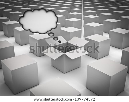 Stand out from the crowd , Individuality , Different and Think outside the box concepts , Opened box with thought bubble amongst the closed white boxes