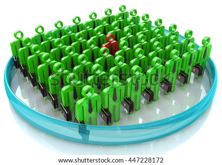 Stand Out From The Crowd - The concept of leadership in business in the design of information associated with the leader. 3d illustration - stock photo