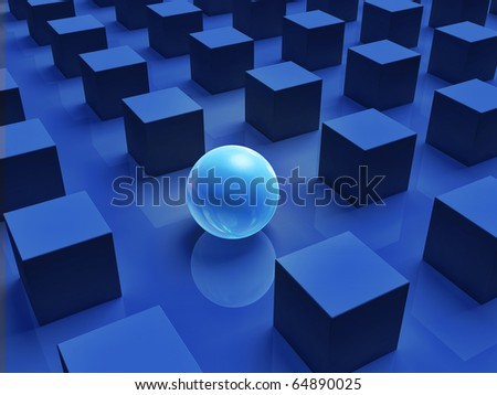 Stand Out from the Crowd, Unique, Circle Amongst Squares - stock photo