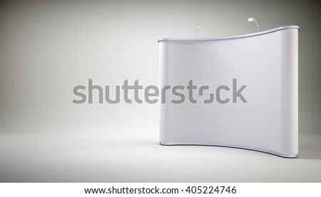 Stand with blank screen on grey wall background. 3D rendering