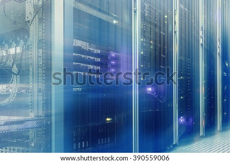 Stand with server hardware and lighting in the server room motion blur - stock photo